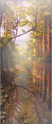 Print featuring the painting Cathedral Redwoods by Robby Donaghey