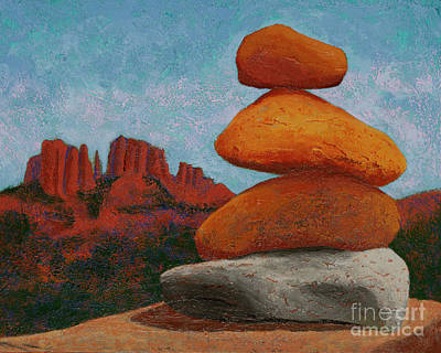 Cathedral Rock Painting - Cathedral Rock Cairn - Sedona by Garry McMichael