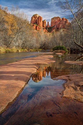 Photograph - Cathedral Rock Reflection In Oak Creek by Rick Strobaugh