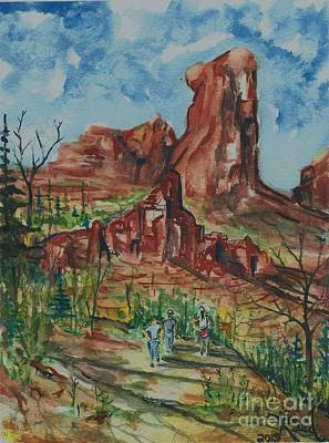 Painting - Hiking Cathedral Rock,  Sedona, Az. by Reed Novotny