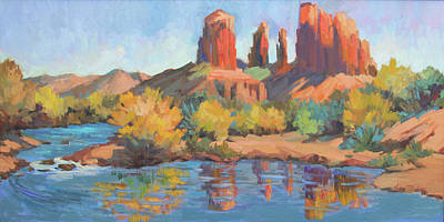 Cathedral Rock Painting - Moonrise Cathedral Rock Sedona by Diane McClary