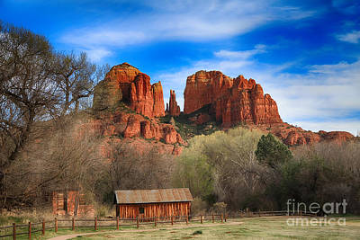 Cathedral Rock And Barn Art Print
