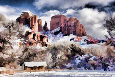 Cathedral Rock White Blanket - Digital Art Art Print