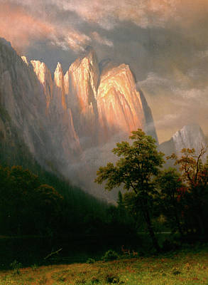 Looking Down Painting - Cathedral Rocks by Albert Bierstadt