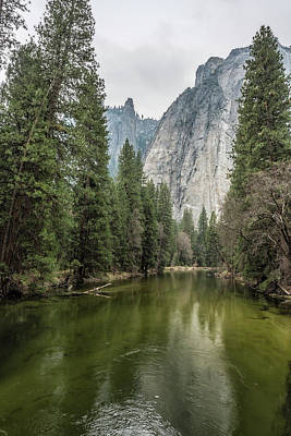 Photograph - Cathedral Rocks And Spires Behind Merced River by Belinda Greb