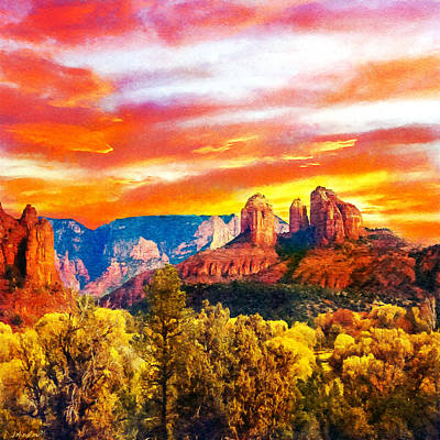 Painting - Cathedral Rocks Red Rock State Park by Dr Bob Johnston