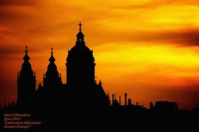Cathedral Silhouette Sunset Fantasy L A Art Print