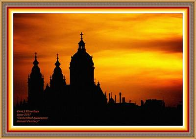 Cathedral Silhouette Sunset Fantasy L A With Alt. Decorative Ornate Printed Frame. Art Print