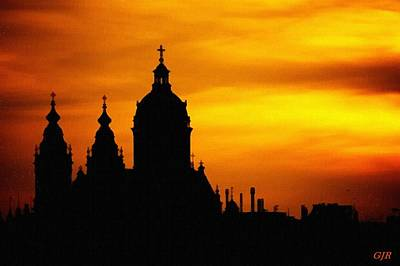 Cathedral Silhouette Sunset Fantasy L B Art Print