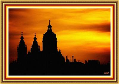 Cathedral Silhouette Sunset Fantasy L B With Alt. Decorative Ornate Printed Frame. Art Print