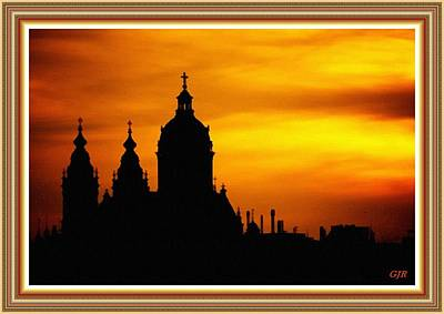 Cathedral Silhouette Sunset Fantasy L B With Decorative Ornate Printed Frame. Art Print