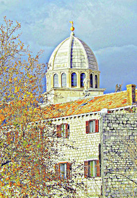 Digital Art - Cathedral With Tangerine Shutters by Ann Johndro-Collins
