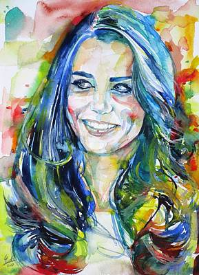 Middleton Painting - Catherine,duchess Of Cambridge - Watercolor Portrait.4 by Fabrizio Cassetta