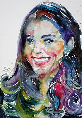 Middleton Painting - Catherine,duchess Of Cambridge - Watercolor Portrait.5 by Fabrizio Cassetta