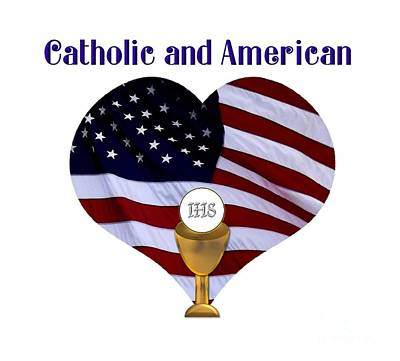 Communion Photograph - Catholic And American Flag And Holy Eucharist by Rose Santuci-Sofranko