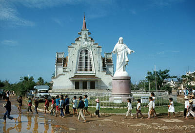 Photograph - Catholic Church And School Children, Hue by Robert Holden