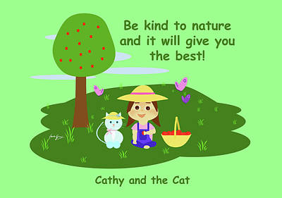 Cathy And The Cat Are Kind To Nature Art Print