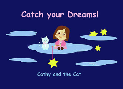 Your Home Drawing - Cathy And The Cat Catch Your Dreams by Laura Greco