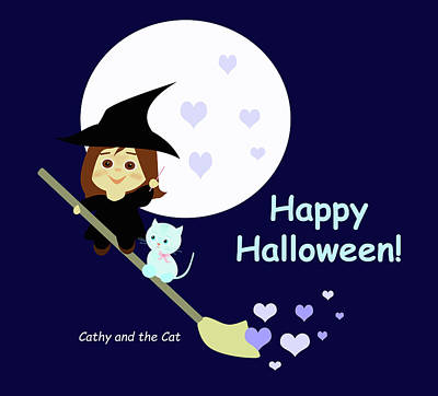 Painting - Cathy And The Cat Enjoy Halloween by Laura Greco