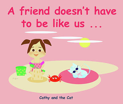Drawing - Cathy And The Cat Friends And Us by Laura Greco