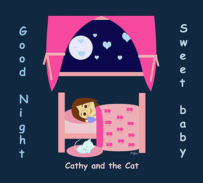 Digital Art - Cathy And The Cat Good Night by Laura Greco