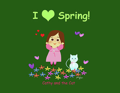 Cat And Butterfly Digital Art - Cathy And The Cat I Love Spring by Laura Greco