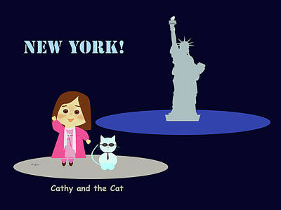Cathy And The Cat In New York Art Print