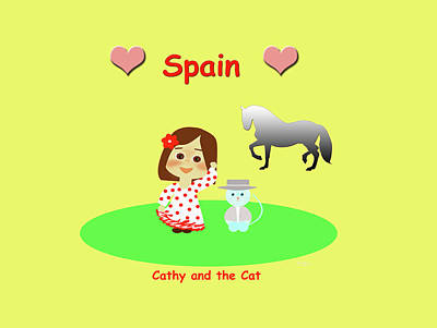 Painting - Cathy And The Cat In Spain by Laura Greco