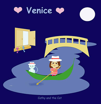 Painting - Cathy And The Cat In Venice by Laura Greco