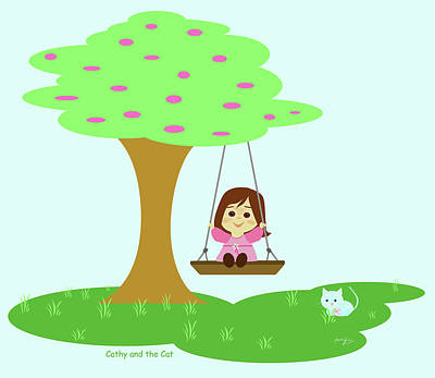 Painting - Cathy And The Cat Play In The Swing by Laura Greco