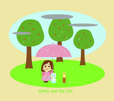 Digital Art - Cathy And The Cat Rainy Day by Laura Greco