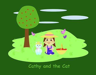 Drawing - Cathy And The Cat With Apples by Laura Greco