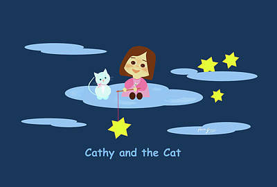 Drawing - Cathy And The Cat With Stars by Laura Greco