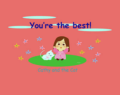 Digital Art - Cathy And The Cat You Are The Best by Laura Greco