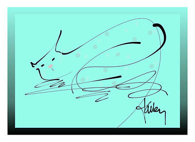 Mixed Media - Catnap In Blue by Larry Talley