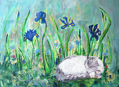 Painting - Catnap In The Garden by Haleh Mahbod