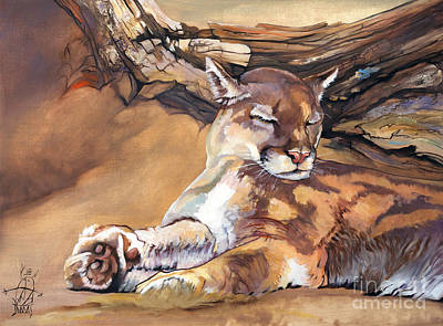 Painting - Catnap by J W Baker