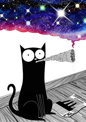 Whimsical Drawing - Catnip  by Andrew Hitchen