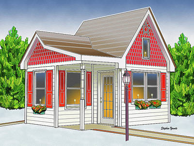 Catonsville Santa House Art Print by Stephen Younts