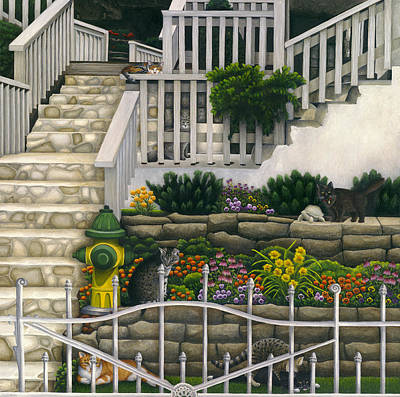 Gray Tabby Painting - Cats Among Stairs And Garden  by Carol Wilson