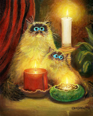 Humorous Cat Painting - Cats And Candles No. 1 by Baron Dixon