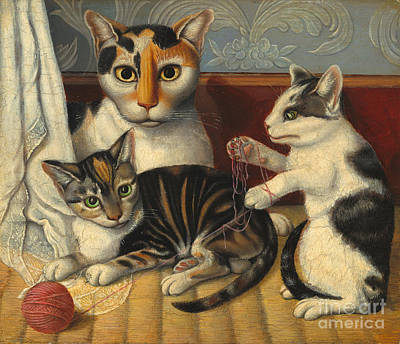 Painting - Cats And Kittens by Unknown