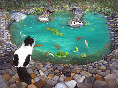 Art Print featuring the painting Cats And Koi by Karen Zuk Rosenblatt