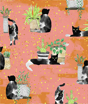 Digital Art - Cats And Plants by Uma Gokhale