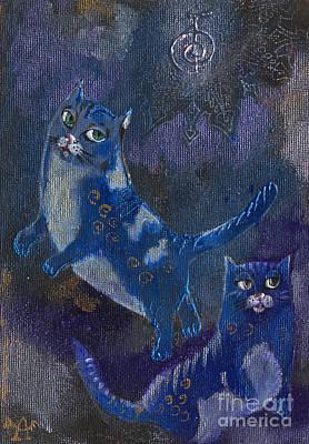 Cats And Reiki Art Print by Angel  Tarantella