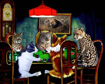 Painting - Cats Are Wild Poker by Ron Chambers