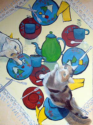 Flame Point Painting - Cats At The Magical Tea by Barbara Briggs
