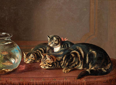 Cats By A Fishbowl Art Print by Horatio Henry Couldery