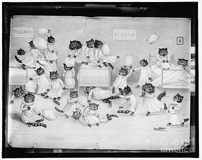 Drawing - Cats Cartoon Vintage by R Muirhead Art