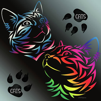 Digital Art - Cats Cats And More Cats - Digital Art by Ericamaxine Price